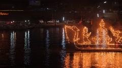 Fire boat at Ok Phansa Festival,Ubon Ratchathani,Thailand Stock Footage