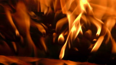 Wood Fire Close Up In The Night Stock Footage
