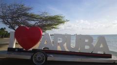 I love Aruba sign Stock Footage