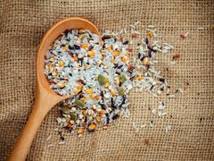 Mixed multi grain traditional thai rice ,corn ,sunflower ,rye ,sesame , and J Stock Photos