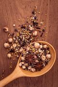 Assortment; background; barbecue; bay; black; garlic; cayenne; chili; cinnamo Stock Photos