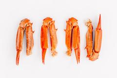 Boiled crab claws isolated on white background for crabs and seafood menu. - stock photo