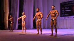 Classic bodybuilding competition men - stock footage
