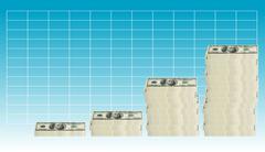 100 dollar bill - graph - stock illustration