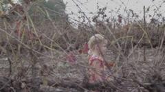 Little girl in the vineyard Stock Footage