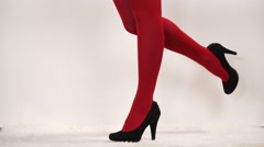 Woman in fashion high heels and pantyhose 4K. Stock Footage