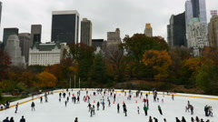Ice skating  in Central Park NYC Stock Footage