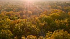 Stock Video Footage of 4K Aerial: Bird View Over Wasteland in Fall