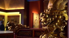Gloden royal chair with dargon decorated in a temple in xiangshan,beijing,china Stock Footage