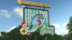 4K Haleiwa Sighboard North Shore Oahu Hawaii Stock Footage