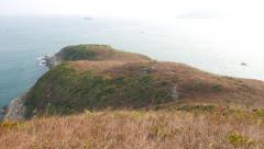 South China sea view from top of Ap Lei Pai island, hill peak Stock Footage