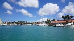 Yachts in the harbor of Oranjestad Aruba Stock Footage