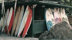 4K Surf Shop at Haleiwa Oahu Hawaii Stock Footage