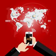 Modern communication technology mobile phone high tech, wide web connection c Stock Illustration