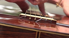 Acoustic Guitar Strings Stock Footage