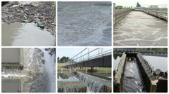 Garbage bottles flow in dirty water. Bubbling scum. Waterworks Stock Footage
