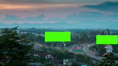 Timelapse super highway with green screen billboard Stock Footage