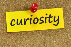 curiosity word on yellow notepaper with cork background - stock photo