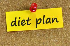 diet plan word on yellow notepaper with cork background - stock photo
