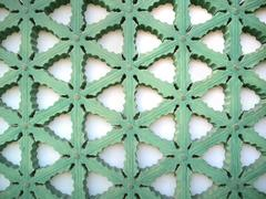 Wood carving of geometry pattern Stock Photos