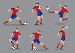 Soccer Player Kicking Passing Heading and Goal Shooting Poses Stock Illustration