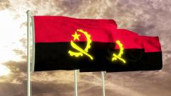 Three flags of Angola waving in the wind (4K) - stock footage