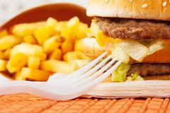 Fast food set - stock photo