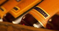 Wealth cognac bottles - stock photo