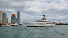 Luxury superyacht Miami Beach Stock Footage