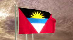 Three flags of Antigua and Barbuda waving in the wind (4K) Stock Footage