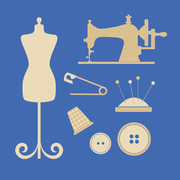 Sewing tools and attributes - stock illustration