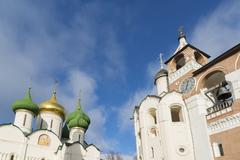 Transfiguration Cathedral and belfry in St. Euthymius monastery in Suzdal. Go Stock Photos