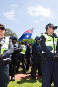 Anti Racism protesters clash with Reclaim Australia Stock Photos