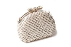 White clutch with diamonds on isolated white background Stock Photos