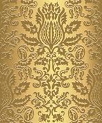 Gold Damask Wallpaper Pattern - stock illustration