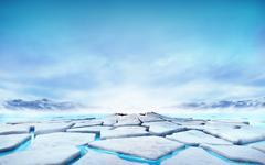 cracked ice floe floating on blue water mountain lake - stock illustration