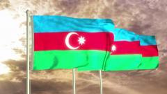 Three flags of Azerbaijan waving in the wind (4K) Stock Footage