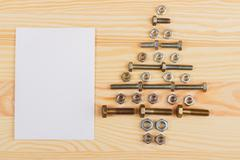 Christmas decorations - Christmas tree from hardware - stock photo
