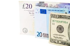 Banknotes of  pounds euro and dollars - stock photo