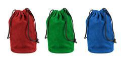 Set of colorful textile sacks on white background Stock Photos