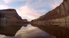 Panning Time Lapse of Lake Powell at Sunrise Stock Footage