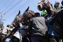 Anti Racism protesters clash with Reclaim Australia - stock photo