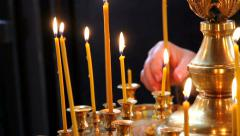 Church candles, Orthodox Church. Stock Footage