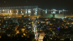 Traffic. Moon over the city. Time lapse.  Haifa. Israel. - stock footage