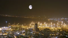 City At Night. Time lapse.  Haifa. Israel. - stock footage