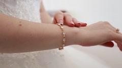 Hands of the bride dress nice bracelet - stock footage