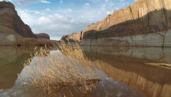 View down the Escalante river in Lake Powell Stock Footage