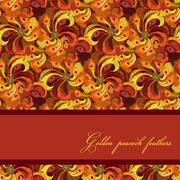 Golden orange and red peacock feathers pattern background. Text place. - stock illustration