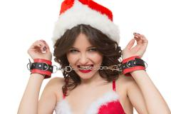 Sexy Snow Maiden headphones for sex games. Isolated on white background. santa - stock photo