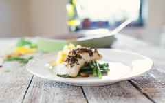 Zander fish fillet dish on a plate Stock Photos